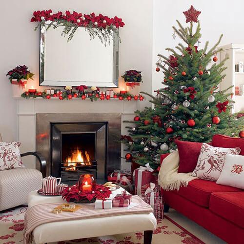 червоний та зелений кольори в новорічному декорі